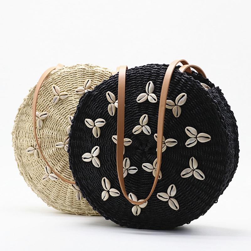 Cercle-Sacs-De-Paille-Femmes-D-039-ETE-Sac-De-Rotin-A-la-Main-TissE-Shell-Plage-6E8 miniature 4