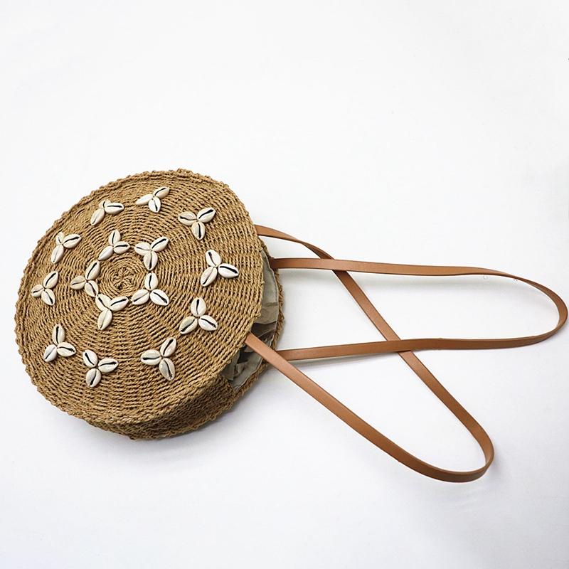 Cercle-Sacs-De-Paille-Femmes-D-039-ETE-Sac-De-Rotin-A-la-Main-TissE-Shell-Plage-6E8 miniature 6