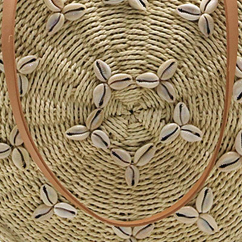 Cercle-Sacs-De-Paille-Femmes-D-039-ETE-Sac-De-Rotin-A-la-Main-TissE-Shell-Plage-6E8 miniature 19