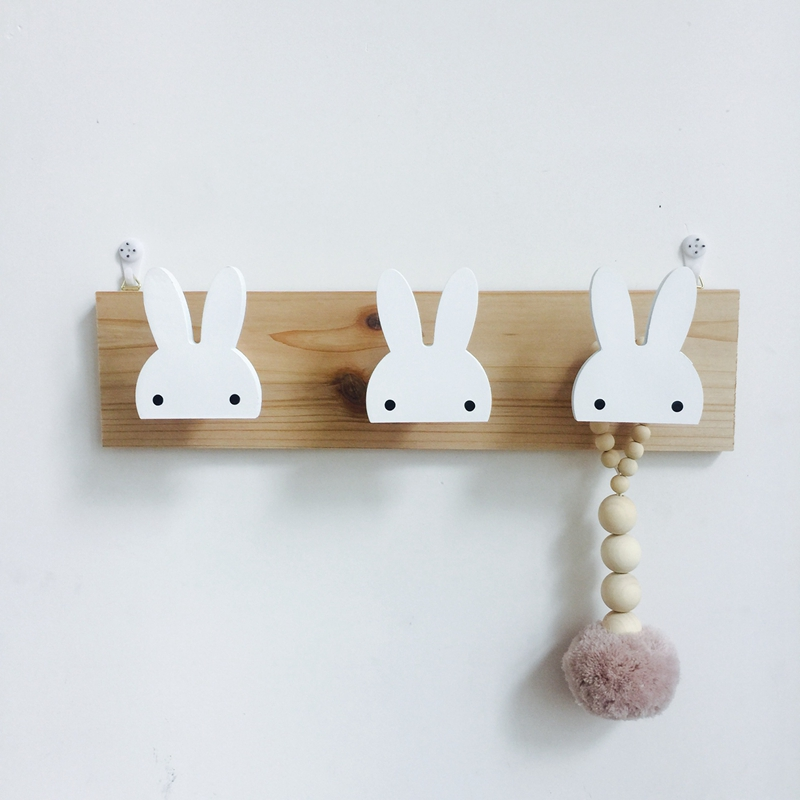 2X-Cute-Wooden-Bunny-Hook-Rail-For-Kids-Room-Wall-Decorate-Hanger-Hook-For-R4S7 thumbnail 4