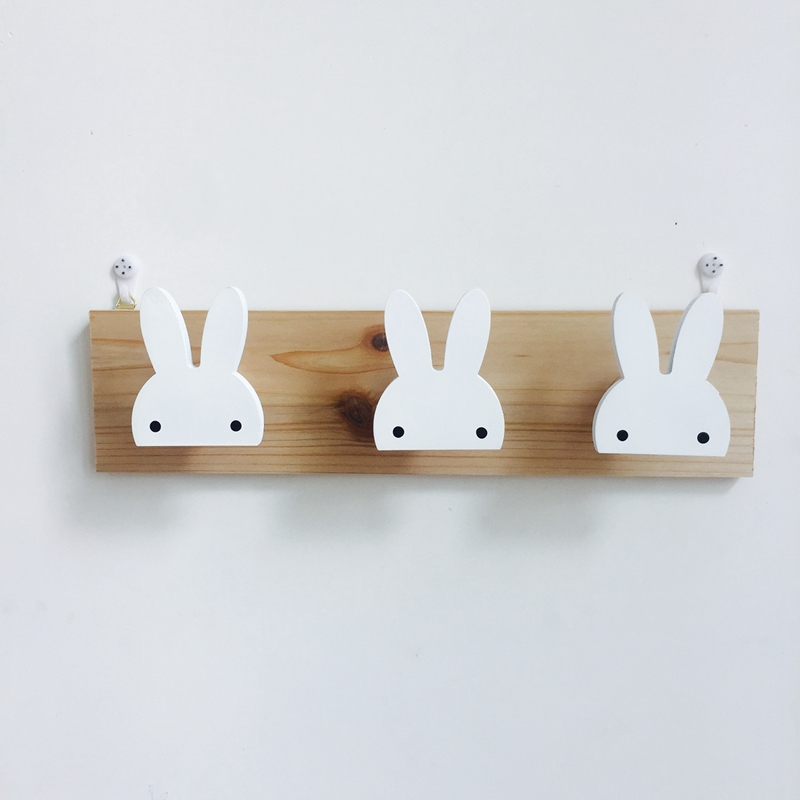 2X-Cute-Wooden-Bunny-Hook-Rail-For-Kids-Room-Wall-Decorate-Hanger-Hook-For-R4S7 thumbnail 5