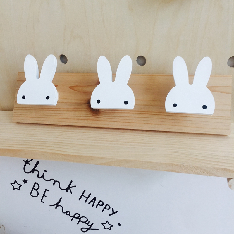 2X-Cute-Wooden-Bunny-Hook-Rail-For-Kids-Room-Wall-Decorate-Hanger-Hook-For-R4S7 thumbnail 6