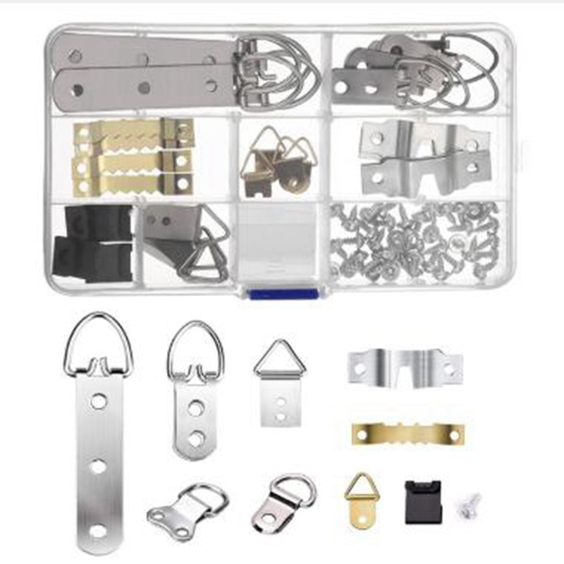 10 Models Picture Hanger Hooks with Screws for Office Family Photo Picture Painting Hanging Assorted Types 97 Pcs Photo Frame Hanging Hooks Kit