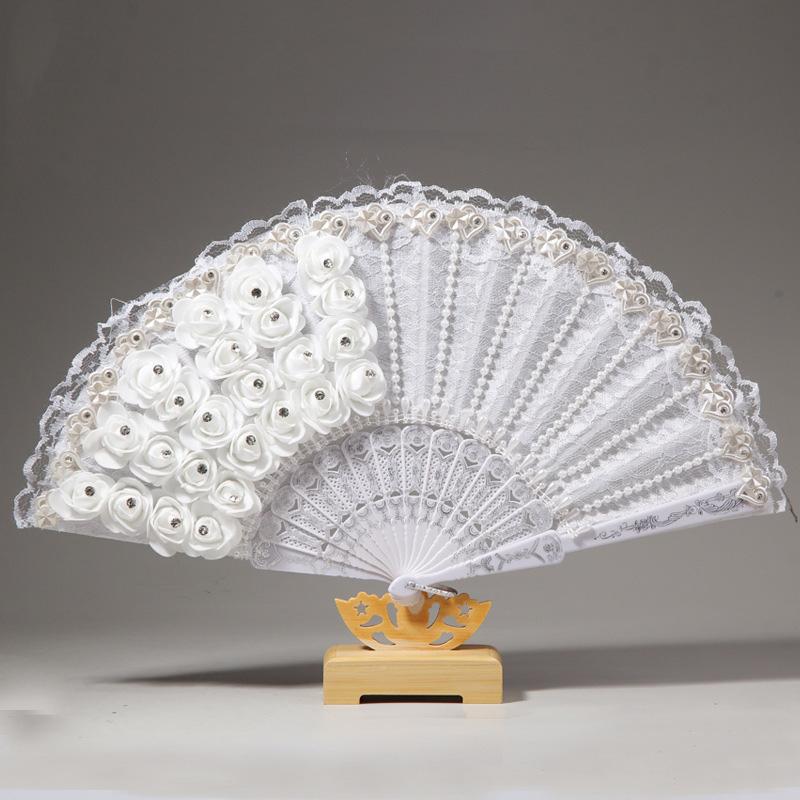 1X-Rose-Feather-Pattern-Folding-Dance-Wedding-Party-Lace-Silk-Folding-Hand-M1X4 thumbnail 3