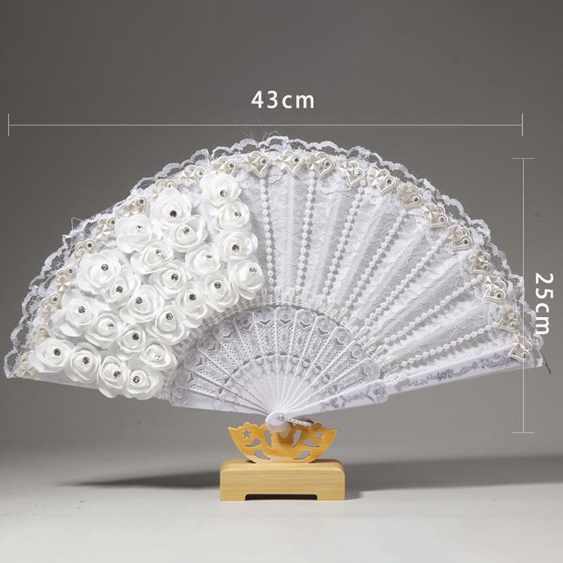 1X-Rose-Feather-Pattern-Folding-Dance-Wedding-Party-Lace-Silk-Folding-Hand-M1X4 thumbnail 4