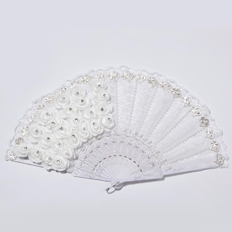 1X-Rose-Feather-Pattern-Folding-Dance-Wedding-Party-Lace-Silk-Folding-Hand-M1X4 thumbnail 5