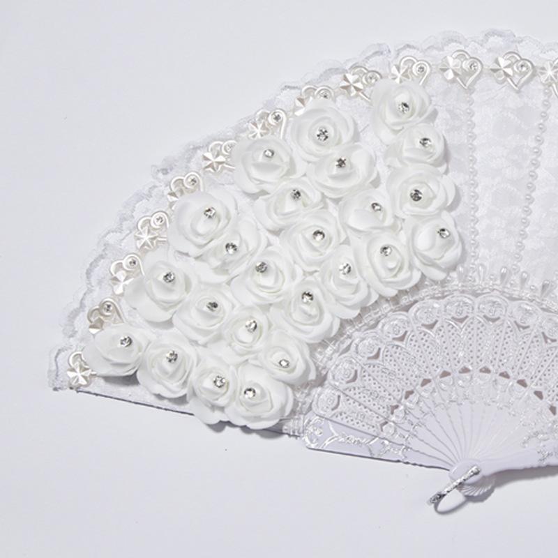1X-Rose-Feather-Pattern-Folding-Dance-Wedding-Party-Lace-Silk-Folding-Hand-M1X4 thumbnail 6