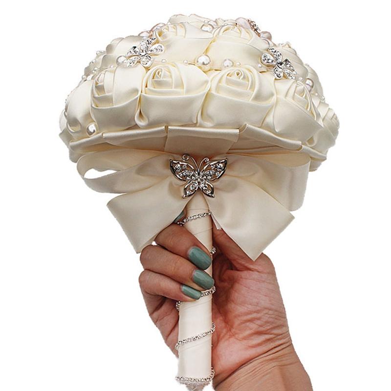 5X(Gorgeous Crystal Ivory Wedding Bouquet Broche Bowknot DecoraciÓN De la B 4L5)