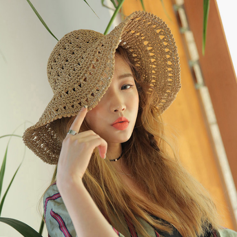 miniatura 5 - Estate Cappello Di Paglia Di Paglia Delle Donne Retro Cappelli Di Paglia Pi L5P7