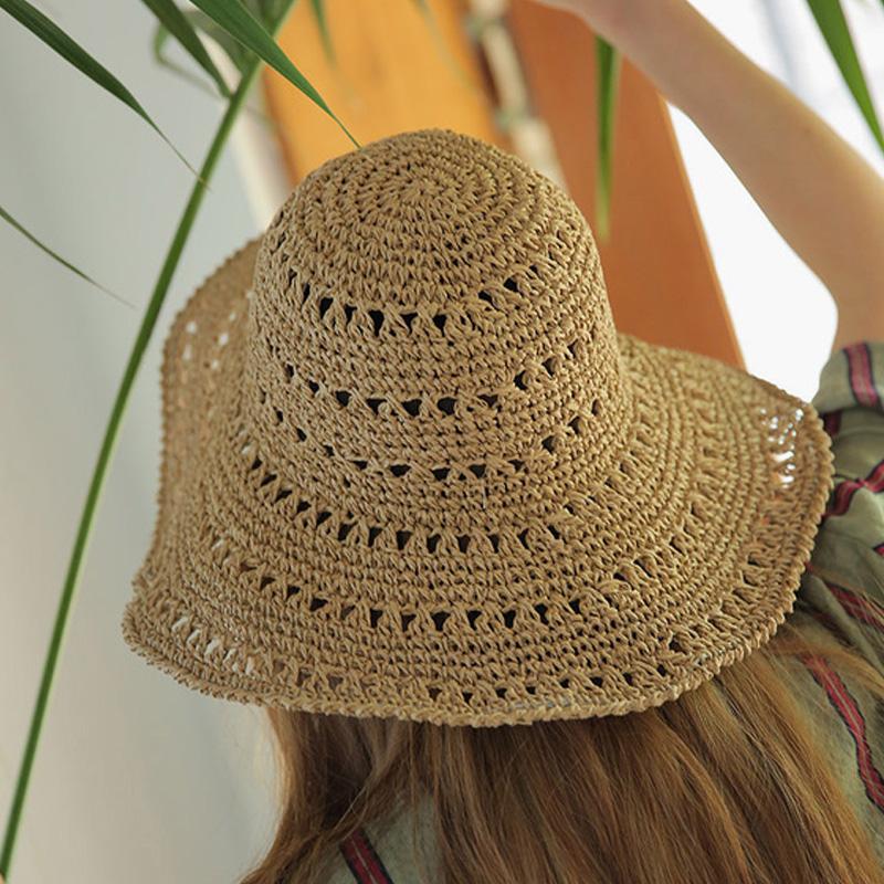 miniatura 9 - Estate Cappello Di Paglia Di Paglia Delle Donne Retro Cappelli Di Paglia Pi L5P7