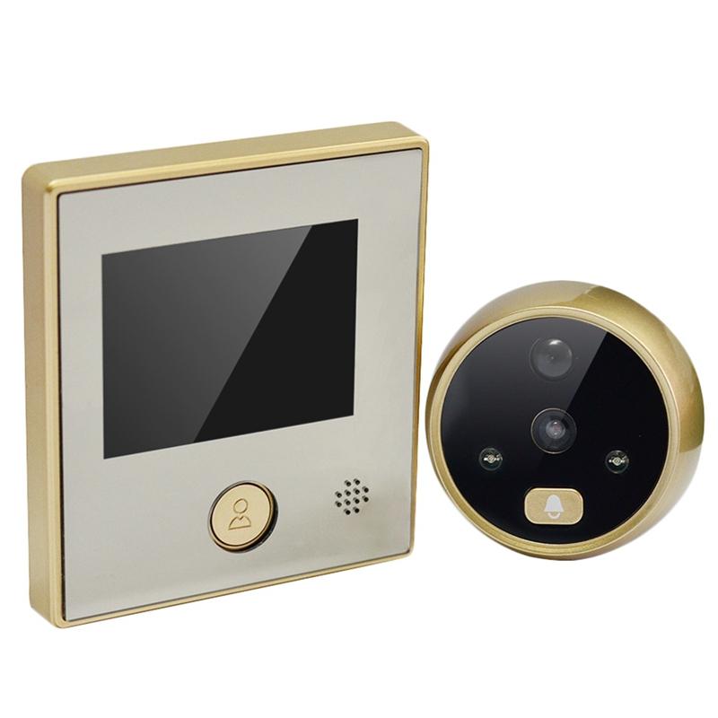 Visor digital inal/ámbrico de puerta tono de llamada de 32 tipos timbre inteligente timbre visual intercomunicador con pantalla TFT a color 3.5 pulgadas,visi/ón nocturna por infrarrojos mirilla