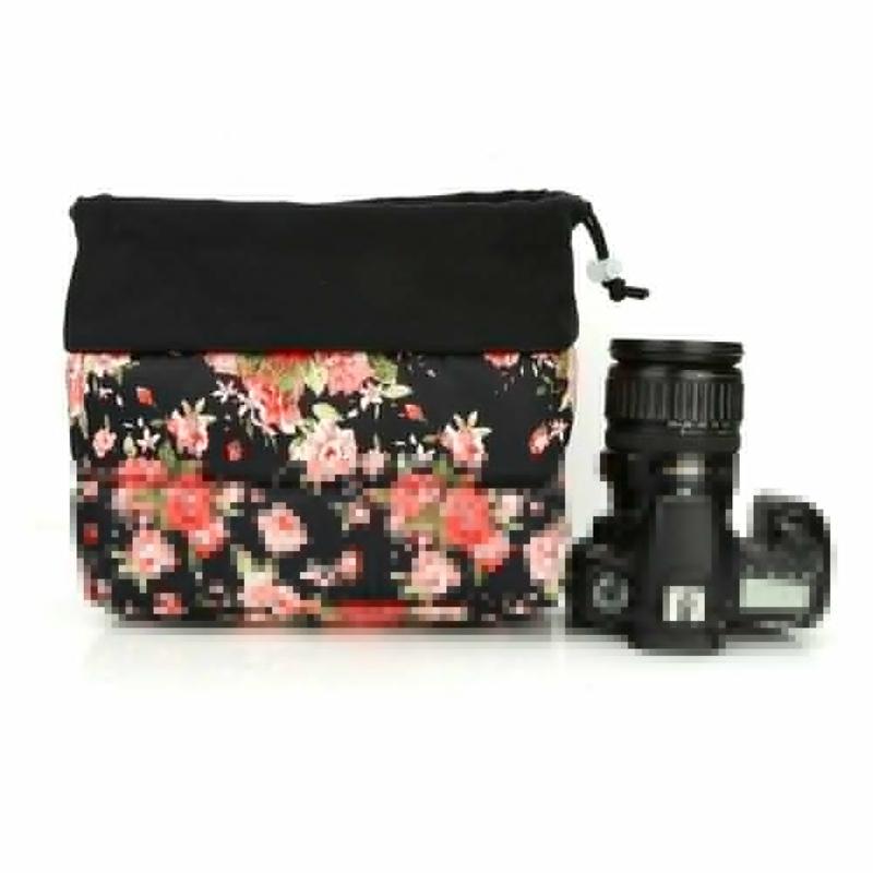 Insertion-Floral-Partition-Dslr-Camera-Bag-Lentilles-Antichoc-Case-Coque-D9Q4 miniature 4