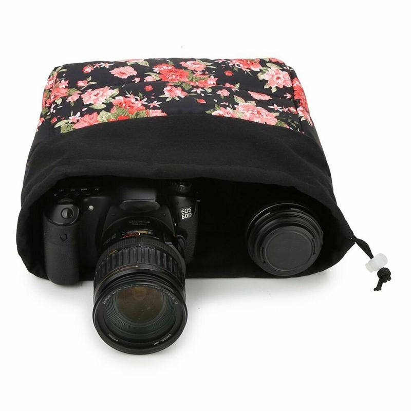 Insertion-Floral-Partition-Dslr-Camera-Bag-Lentilles-Antichoc-Case-Coque-D9Q4 miniature 5