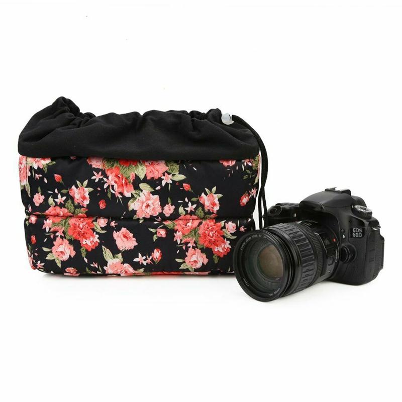 Insertion-Floral-Partition-Dslr-Camera-Bag-Lentilles-Antichoc-Case-Coque-D9Q4 miniature 6