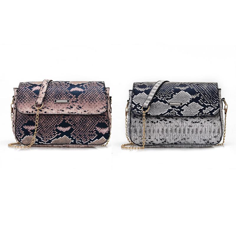 Small Snake Pattern Messenger Bag Women PU Leather Shoulder Handbag Satchel Tote