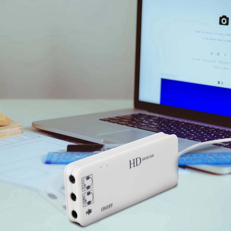 Indexbild 4 - 3-Anschluss-USB-2-0-Hub-Externer-7-1Ch-Sound-Karte-Headset-Mikrofon-Adapter-M9Q9