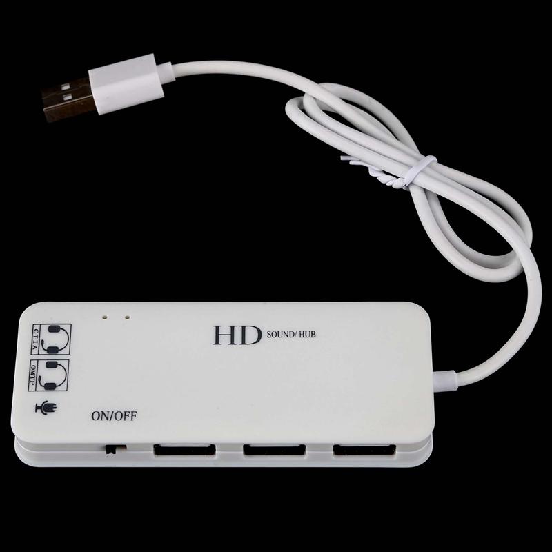 Indexbild 5 - 3-Anschluss-USB-2-0-Hub-Externer-7-1Ch-Sound-Karte-Headset-Mikrofon-Adapter-M9Q9