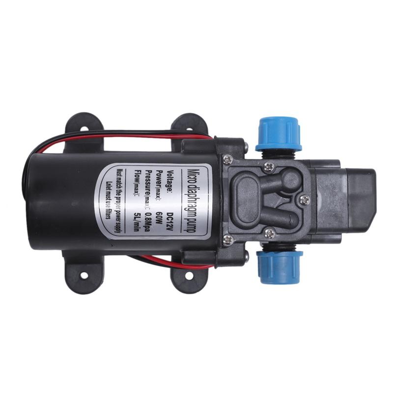 R SODIAL Negro DC 12V 60W Bomba de agua de diafragma micro de presion alta Automatico Apagar 5L // min Bomba de agua