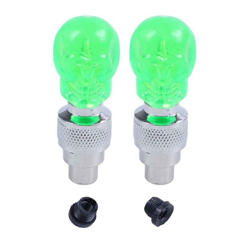 2X-Bouchon-de-Valve-Roue-Pneu-LED-Lampe-Lumineuse-Moto-Bicyclette-Velo-Voit-J2U1 miniature 6