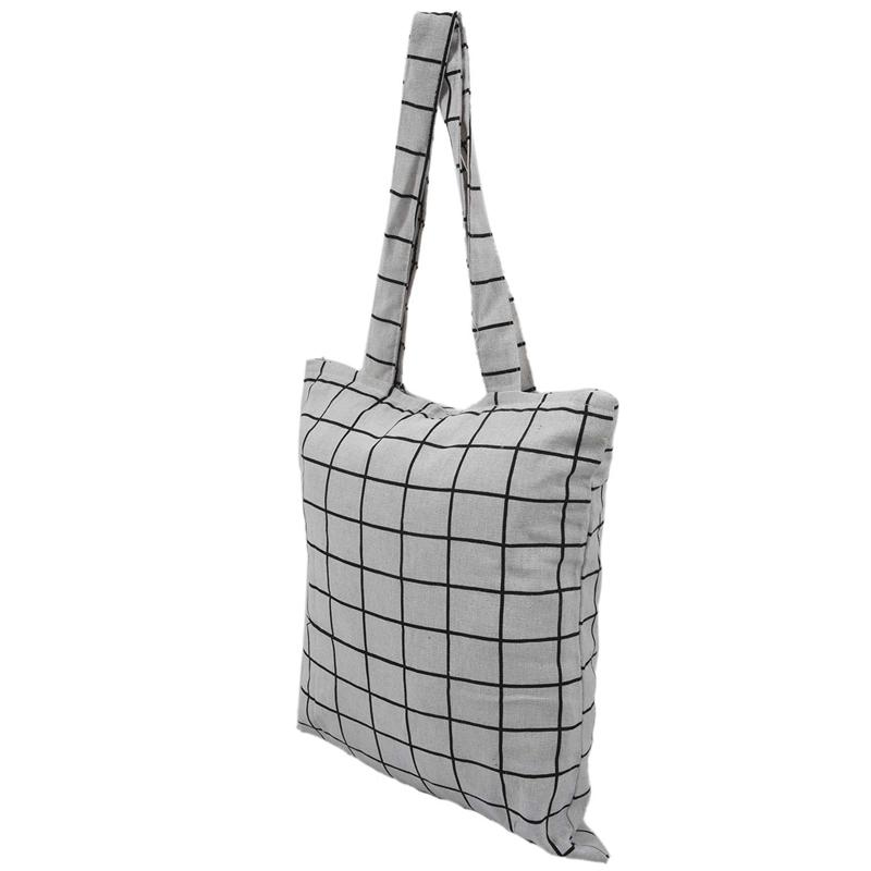 Frauen-Student-Baumwolle-Leinwand-Mode-Plaid-Schulter-Handtasche-Handtasc-K6X2 Indexbild 3