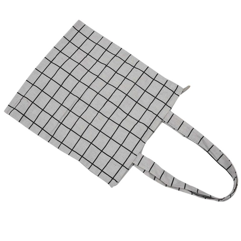 Frauen-Student-Baumwolle-Leinwand-Mode-Plaid-Schulter-Handtasche-Handtasc-K6X2 Indexbild 5