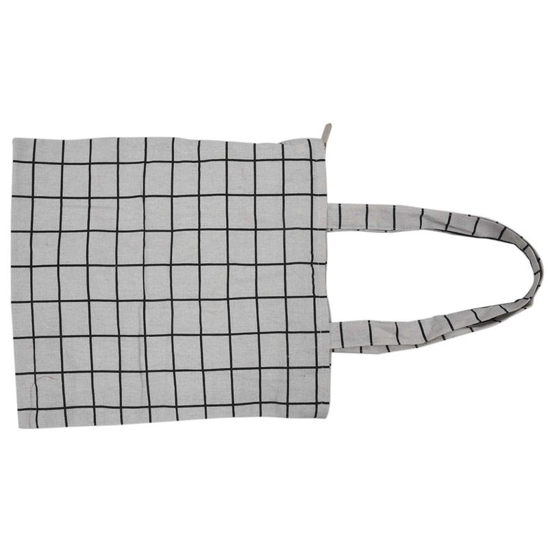 Frauen-Student-Baumwolle-Leinwand-Mode-Plaid-Schulter-Handtasche-Handtasc-K6X2 Indexbild 6