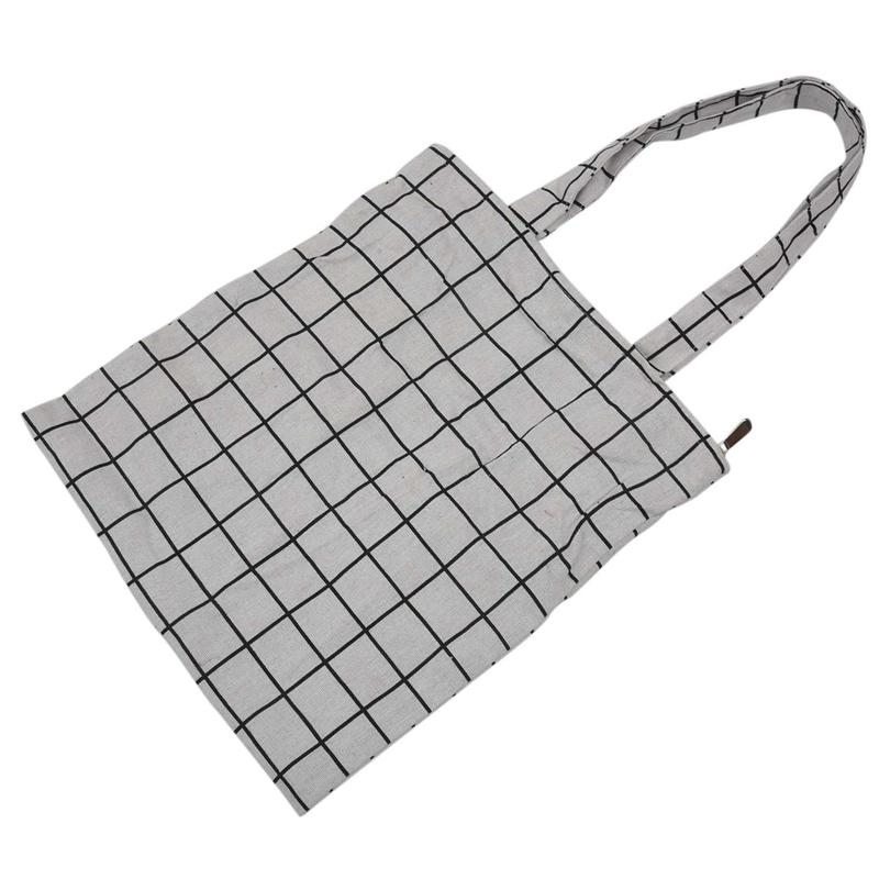 Frauen-Student-Baumwolle-Leinwand-Mode-Plaid-Schulter-Handtasche-Handtasc-K6X2 Indexbild 7
