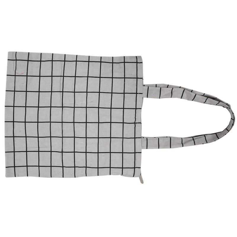 Frauen-Student-Baumwolle-Leinwand-Mode-Plaid-Schulter-Handtasche-Handtasc-K6X2 Indexbild 8