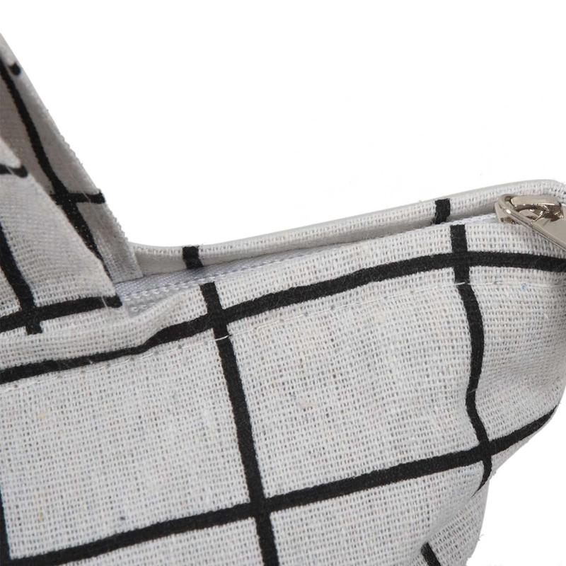 Frauen-Student-Baumwolle-Leinwand-Mode-Plaid-Schulter-Handtasche-Handtasc-K6X2 Indexbild 9