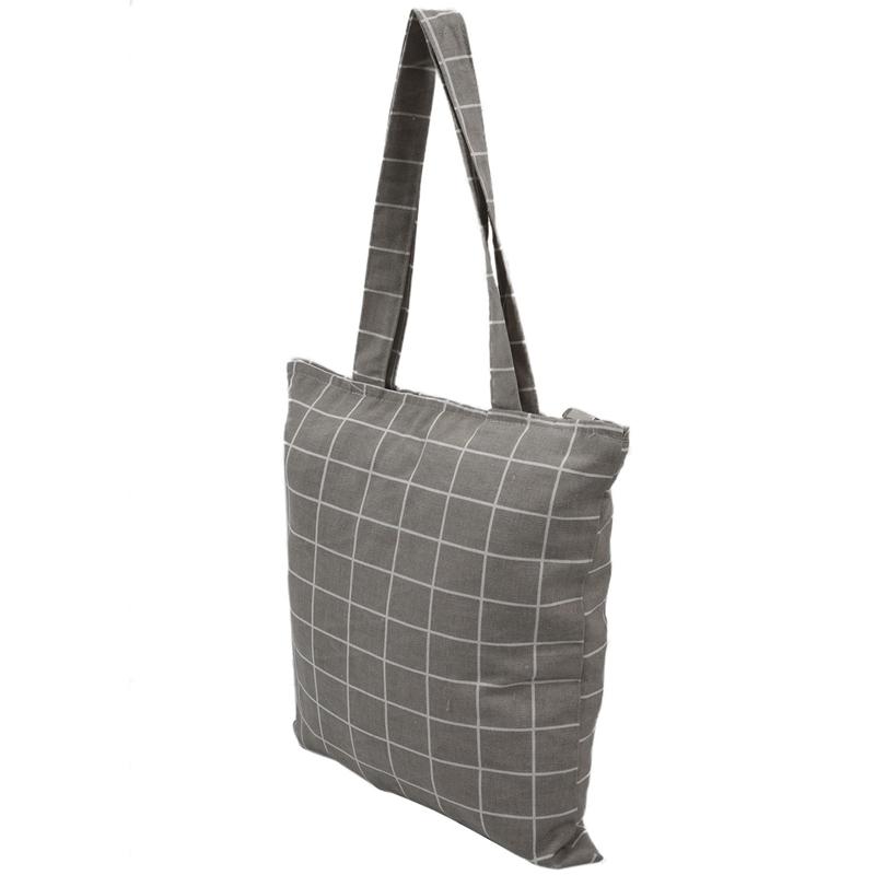 Frauen-Student-Baumwolle-Leinwand-Mode-Plaid-Schulter-Handtasche-Handtasc-K6X2 Indexbild 11