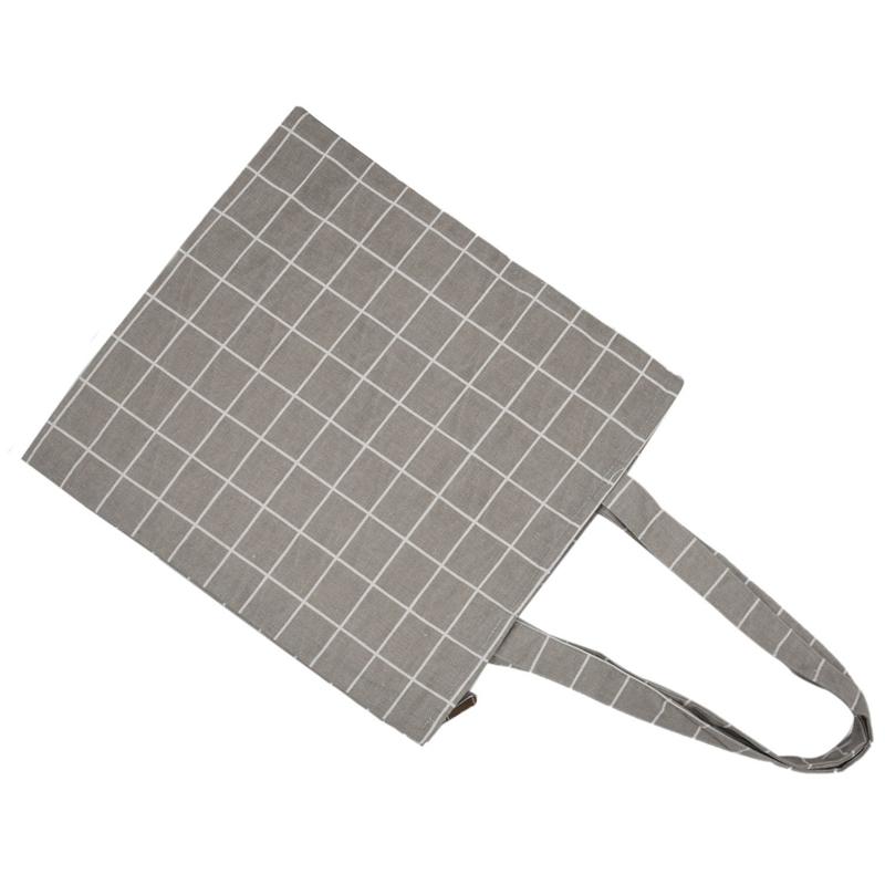 Frauen-Student-Baumwolle-Leinwand-Mode-Plaid-Schulter-Handtasche-Handtasc-K6X2 Indexbild 15