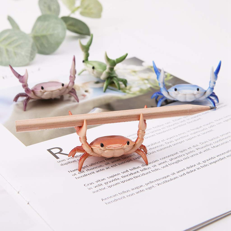 2X-New-Creative-Cute-Crab-Pen-Holder-Weightlifting-Crabs-Pen-Holder-BracketW3D5 thumbnail 7