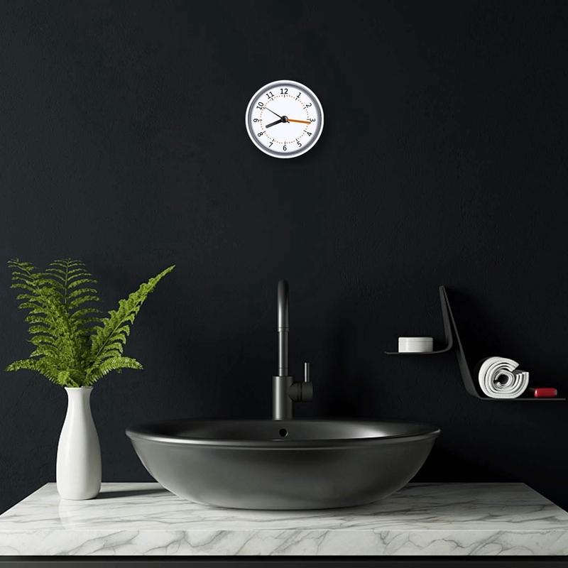 Mini Shower Clock Waterproof IP24 Wall Clock Suction Cup Bathroom Clock Ac H3X8