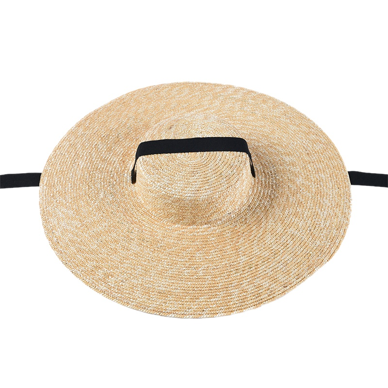 Women Sun Hat French Style Wide Brim Straw Hat Casual Natural Wheat Straw H K2T3