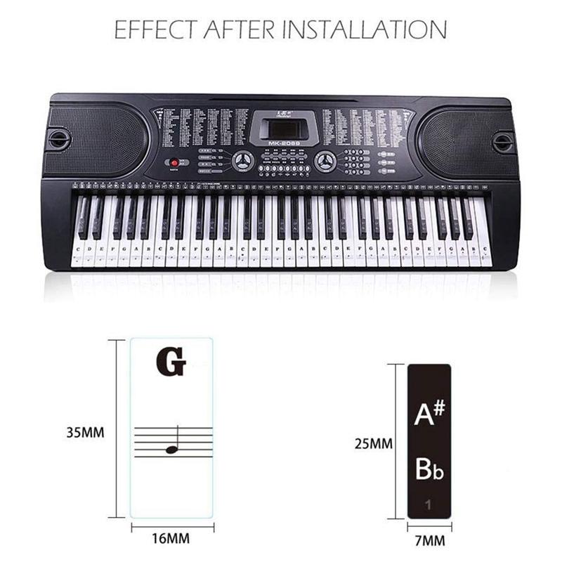 88 Tasten 61 Tasten 54 Tasten Durchsichtiges Klavier Tastatur Aufkleber Ele Z9V3