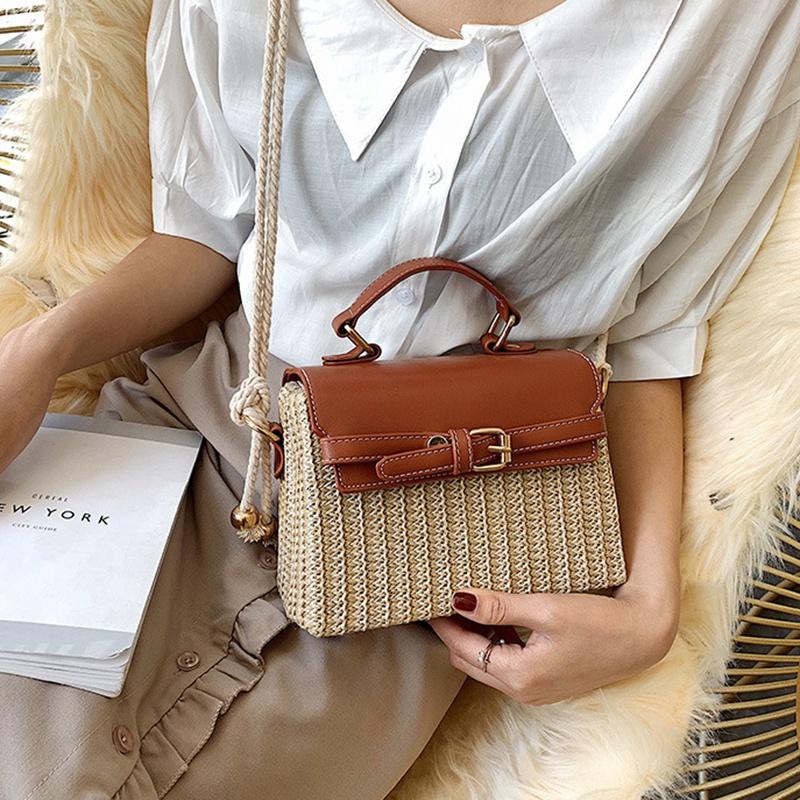 Stroh-Taschen-fuer-Frauen-Sommer-Neue-Mode-Umhaengetasche-Damen-Kleine-Geldboe-Q8M7 Indexbild 3