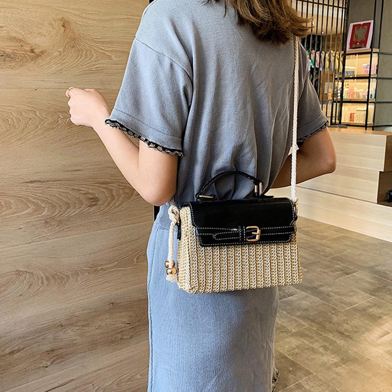 Stroh-Taschen-fuer-Frauen-Sommer-Neue-Mode-Umhaengetasche-Damen-Kleine-Geldboe-Q8M7 Indexbild 4