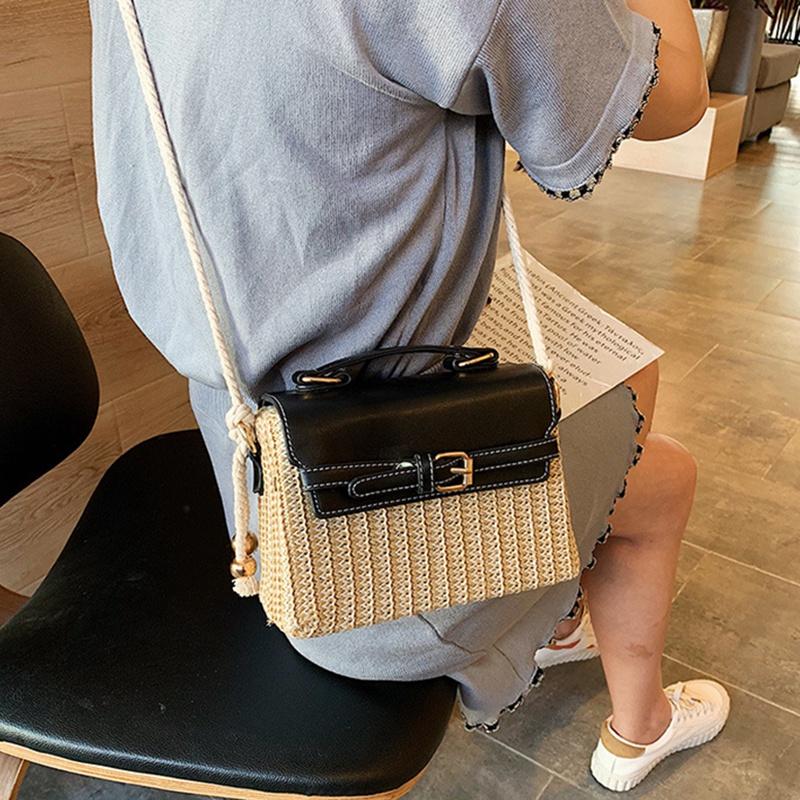 Stroh-Taschen-fuer-Frauen-Sommer-Neue-Mode-Umhaengetasche-Damen-Kleine-Geldboe-Q8M7 Indexbild 14