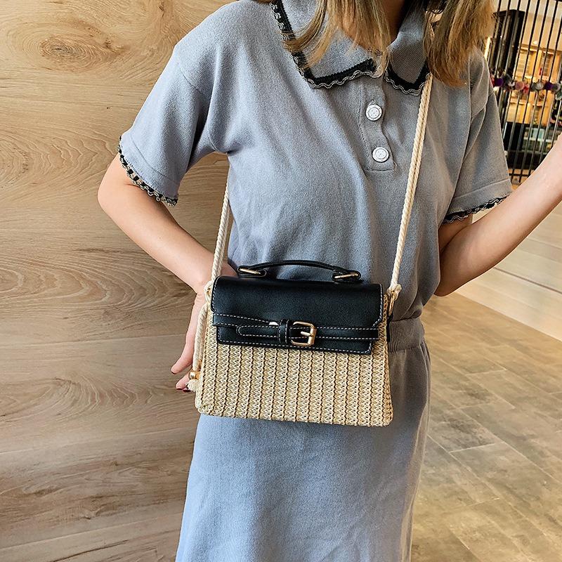 Stroh-Taschen-fuer-Frauen-Sommer-Neue-Mode-Umhaengetasche-Damen-Kleine-Geldboe-Q8M7 Indexbild 18
