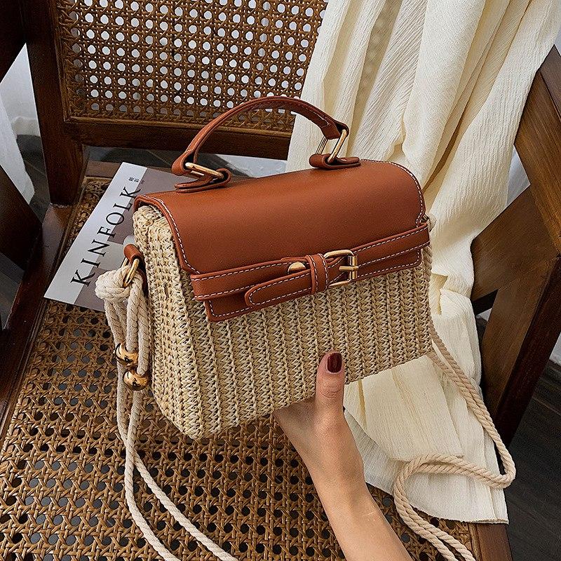 Stroh-Taschen-fuer-Frauen-Sommer-Neue-Mode-Umhaengetasche-Damen-Kleine-Geldboe-Q8M7 Indexbild 19