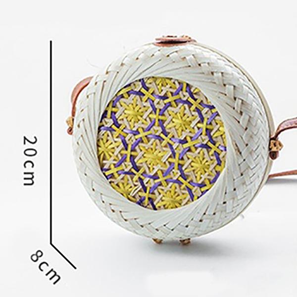Nouveau-Mode-Femmes-Ete-Sacs-De-Rotin-Rond-Sacs-De-Paille-Cercle-Tisse-A-la-N5L8 miniature 11