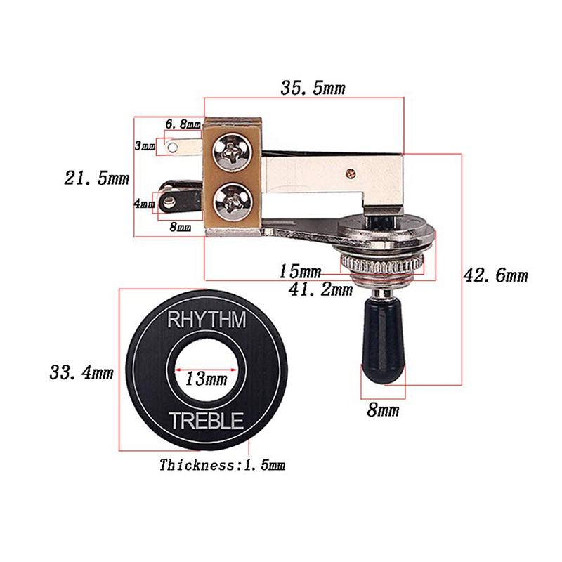 Interruptor-Selector-de-Palanca-de-3-Vias-para-Piezas-de-Repuesto-para-Guita-u2O miniatura 5