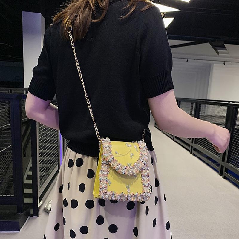Summer-New-Flip-Cover-Bag-Pu-Leather-Lace-Women-039-S-Handbag-Pearl-Flower-ChaiL3J3 thumbnail 5