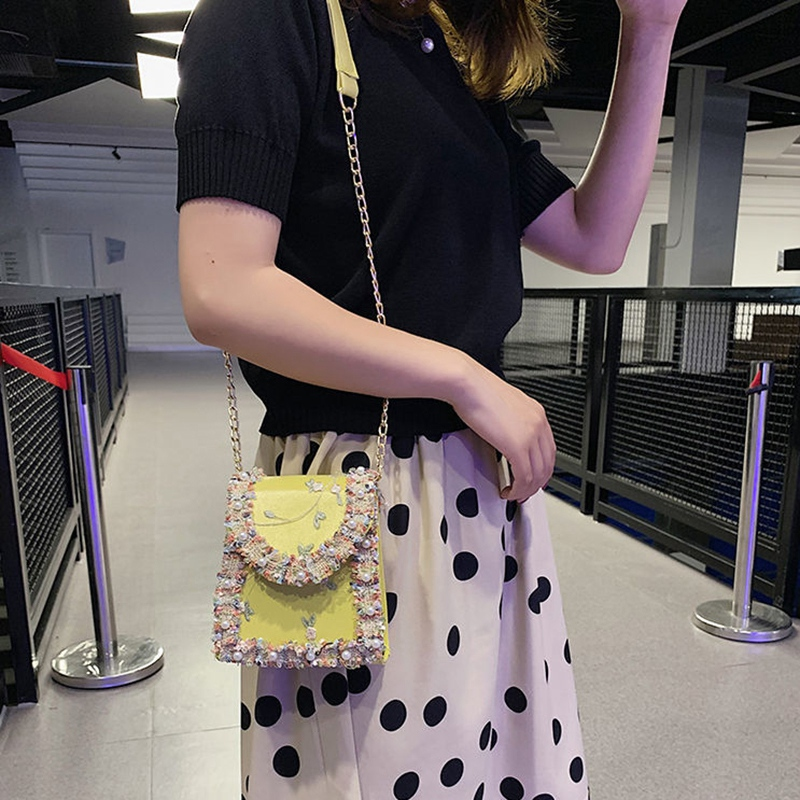 Summer-New-Flip-Cover-Bag-Pu-Leather-Lace-Women-039-S-Handbag-Pearl-Flower-ChaiL3J3 thumbnail 6