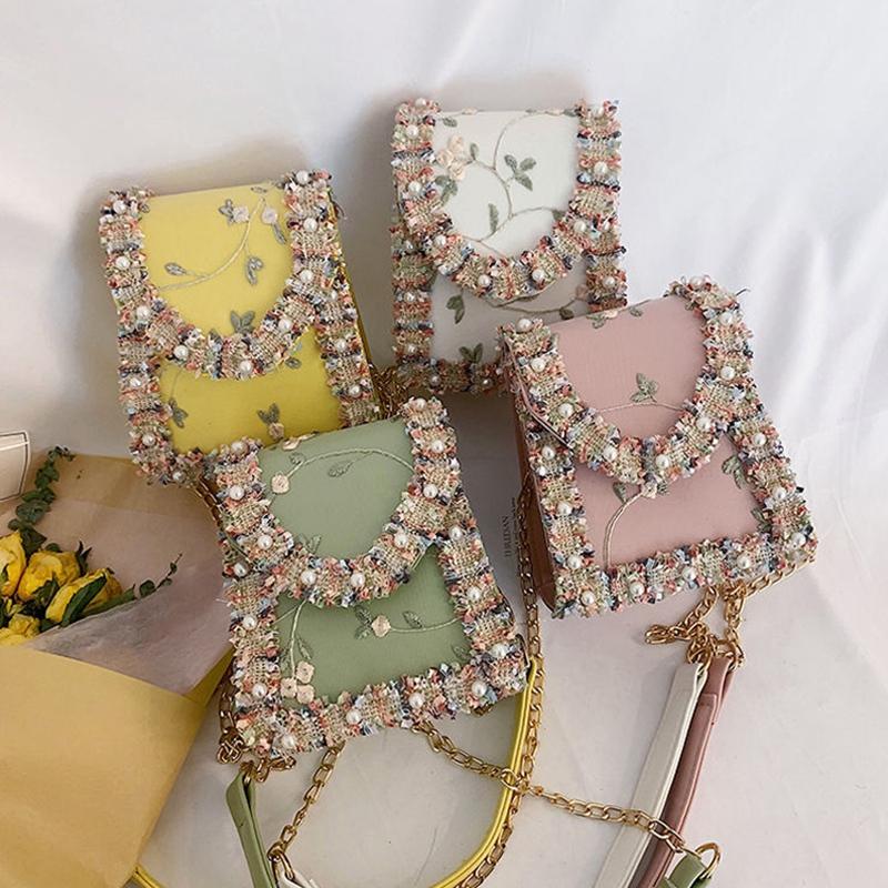 Summer-New-Flip-Cover-Bag-Pu-Leather-Lace-Women-039-S-Handbag-Pearl-Flower-ChaiL3J3 thumbnail 7
