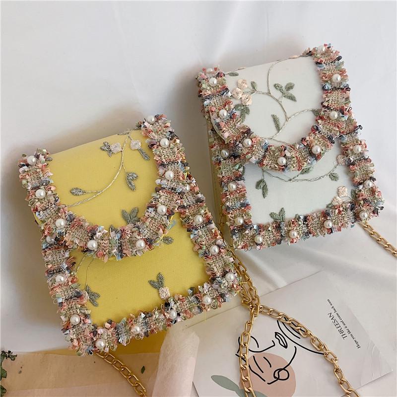 Summer-New-Flip-Cover-Bag-Pu-Leather-Lace-Women-039-S-Handbag-Pearl-Flower-ChaiL3J3 thumbnail 8