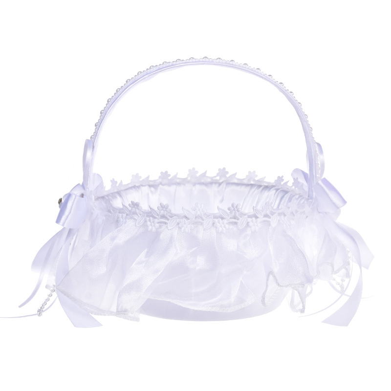 15X(Flower Girl Basket Weiß Flower Basket Wedding Flower Basket Bow Bride O5B7