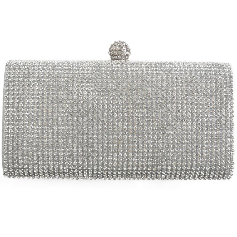 Heart Clasp Silver  Diamante Crystal Diamond Evening bag Clutch Purse Party Prom
