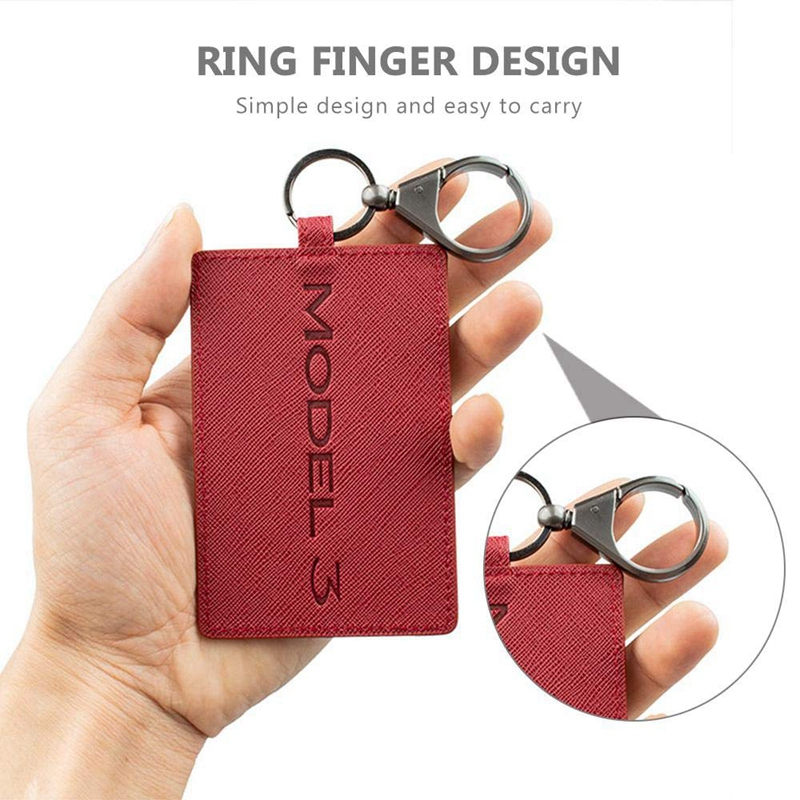 5X-Key-Card-Holder-For-Tesla-Model-3-Anti-Dust-Light-Leather-With-Keychain-S1L2 thumbnail 4