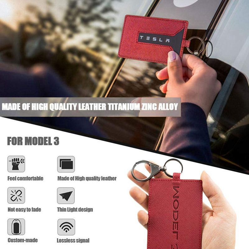 5X-Key-Card-Holder-For-Tesla-Model-3-Anti-Dust-Light-Leather-With-Keychain-S1L2 thumbnail 5